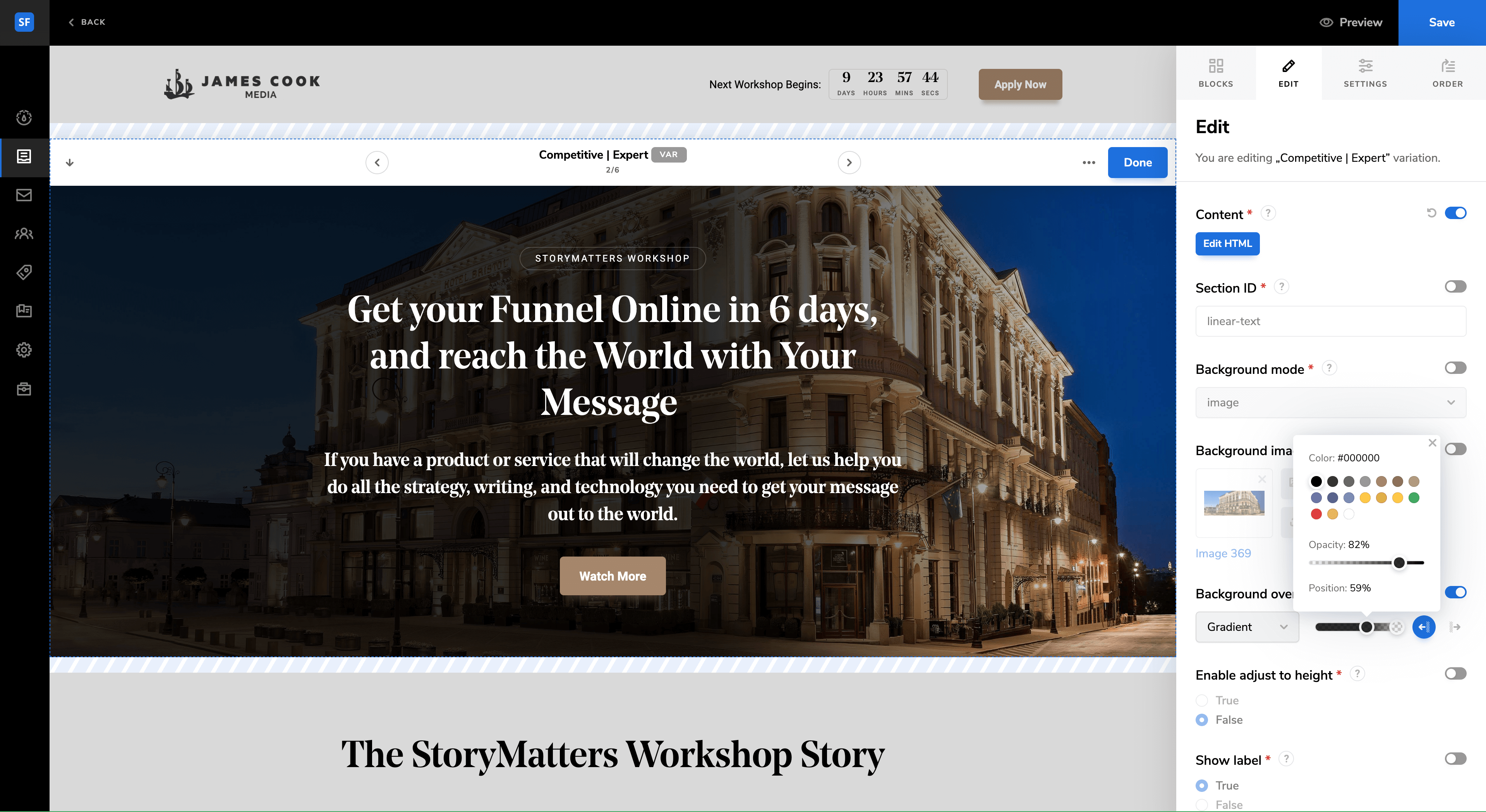 StoryFunnel Page Builder View