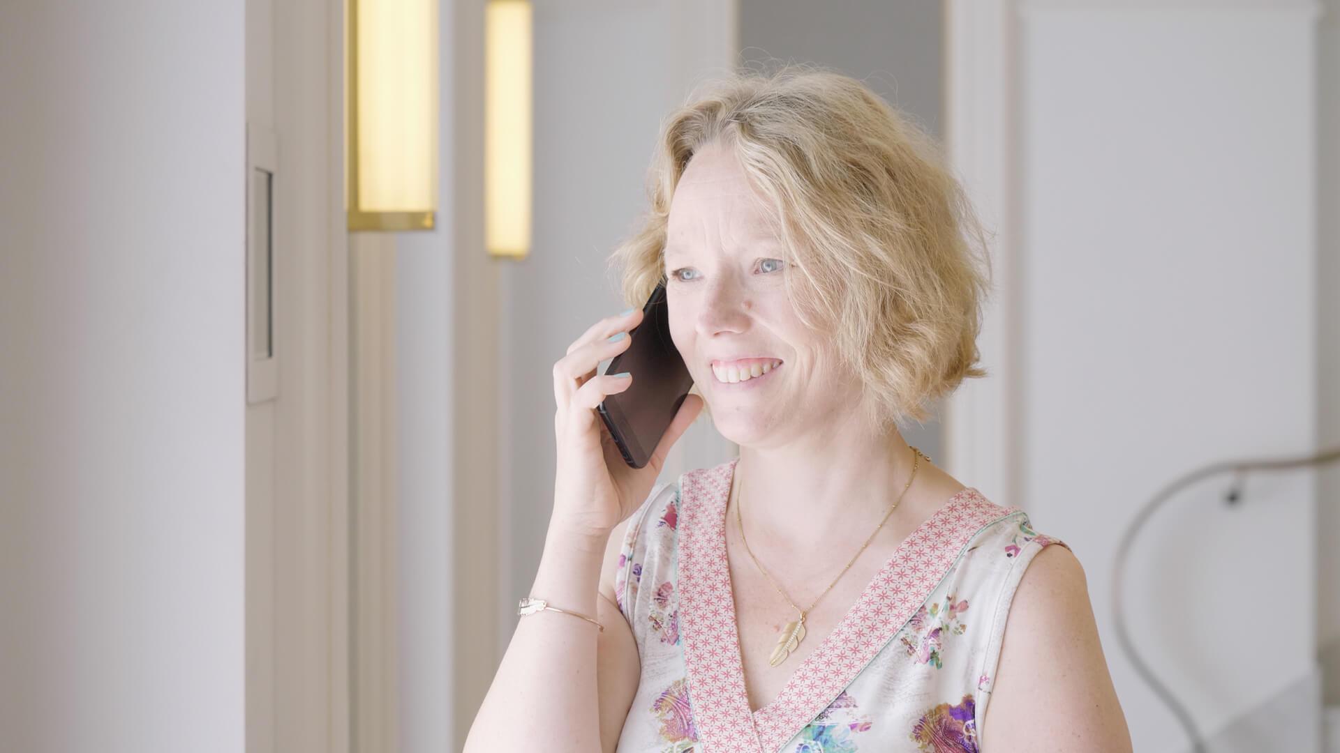 Annika talking on the phone